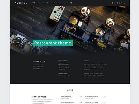 restaurante wordpres theme gratis Auberge