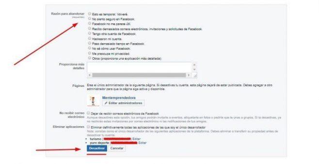 dar de baja facebook